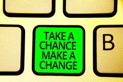 Writing note showing Take A Chance Make A Change. Business photo showcasing dont lose opportunity to reach bigger things Keyboard. Green key Intention computer vector illustration