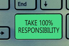 Writing note showing Take 100 Responsibility. Business photo showcasing be fully accountable for your Actions and. Thoughts royalty free stock image