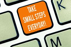 Writing note showing Take Small Steps Everyday. Business photo showcasing Step by step you can reach all your goals. Keyboard Intention to create computer royalty free stock images