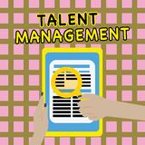 Writing note showing Talent Management. Business photo showcasing Acquiring hiring and retaining talented employees.  Vector Illustration