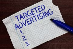 Writing note showing Targeted Advertising. Business photo showcasing Online Advertisement Ads based on consumer activity Squared n. Otebook paper Markers stock photos