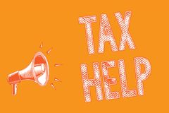 Writing note showing Tax Help. Business photo showcasing Assistance from the compulsory contribution to the state. Revenue Grunge Megaphone loudspeaker loud royalty free illustration