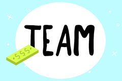 Writing note showing Team. Business photo showcasing Group of people working together Classed and share certain beliefs.  vector illustration