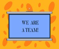 Writing note showing We Are A Team. Business photo showcasing Work together to accomplish a common vision or goals Portable Wall. Projection Screen for stock photo