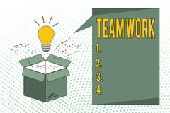 Writing note showing Team Work. Business photo showcasing Combined action of a group Workgroup cooperation collaboration stock illustration