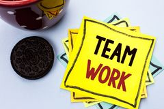 Writing note showing Team Work. Business photo showcasing Cooperation Together Group Work Achievement Unity Collaboration written. Yellow Sticky Note Paper the royalty free stock images
