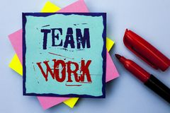 Writing note showing Team Work. Business photo showcasing Cooperation Together Group Work Achievement Unity Collaboration written. Sticky Note Paper the Plain stock photography