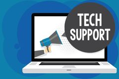 Writing note showing Tech Support. Business photo showcasing Assisting individuals who are having technical problems Man hold Mega