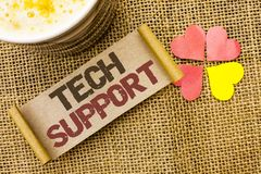 Writing note showing  Tech Support. Business photo showcasing Help given by technician Online or Call Center Customer Service writ. Ten sticky Note the jute Royalty Free Stock Photography