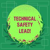 Writing note showing Technical Safety Lead. Business photo showcasing Maintain technical integrity and workplace safety Blank. Color Oval Shape with Leaves and royalty free illustration
