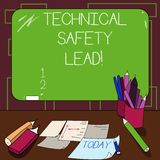 Writing note showing Technical Safety Lead. Business photo showcasing Maintain technical integrity and workplace safety. Mounted Blackboard with Chalk Writing stock illustration