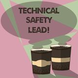 Writing note showing Technical Safety Lead. Business photo showcasing Maintain technical integrity and workplace safety Two To Go. Cup with Beverage and Steam vector illustration