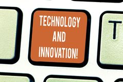 Writing note showing Technology And Innovation. Business photo showcasing Technological changes of products and services Keyboard stock photo
