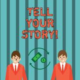 Writing note showing Tell Your Story. Business photo showcasing expressing your feelings Narrating writing your biography vector illustration