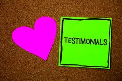 Writing note showing Testimonials. Business photo showcasing Customers formal endorsement statement experience of someone Love bro royalty free stock images