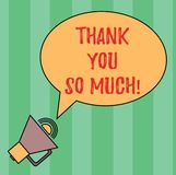 Writing note showing Thank You So Much. Business photo showcasing Expression of Gratitude Greetings of Appreciation Oval royalty free illustration