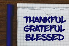 Writing note showing Thankful Grateful Blessed. Business photo showcasing Appreciation gratitude good mood attitude Written white. Notepad on grey wooden royalty free stock photography