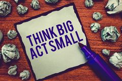 Writing note showing Think Big Act Small. Business photo showcasing Great Ambitious Goals Take Little Steps one at a. Time stock photography