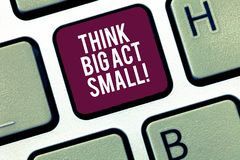 Writing note showing Think Big Act Small. Business photo showcasing Make little steps to slowly reach your biggest goals. Keyboard Intention to create computer stock images
