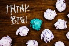 Writing note showing  Think Big Motivational Call. Business photos showcasing Have great ideas Dream of something amazingIdeas wor. Writing note showing  Think Stock Image