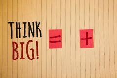 Writing note showing Think Big Motivational Call. Business photos showcasing Have great ideas Dream of something amazingIdeas mes. Writing note showing Think Big royalty free stock images
