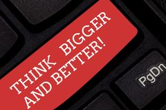 Writing note showing Think Bigger And Better. Business photo showcasing Have more great successful ideas Development. Keyboard key Intention to create computer stock images