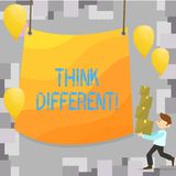 Writing note showing Think Different. Business photo showcasing Rethink Change on vision Acquire New Ideas Innovate. Writing note showing Think Different vector illustration