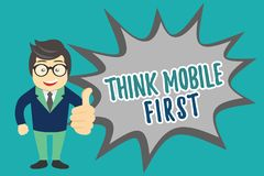 Writing note showing Think Mobile First. Business photo showcasing Easy Handheld Device Accessible Contents 24 or 7 Handy.  royalty free illustration