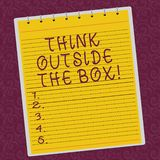 Writing note showing Think Outside The Box. Business photo showcasing Be unique different ideas bring brainstorming Lined Spiral. Top Color Notepad photo on stock illustration