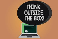 Writing note showing Think Outside The Box. Business photo showcasing Be unique different ideas bring brainstorming. Certificate Layout on Laptop Screen and royalty free illustration