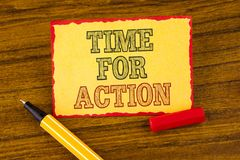 Writing note showing  Time For Action. Business photo showcasing Do something now for a particular purpose Act in this moment writ. Ten Sticky note paper the Stock Photography