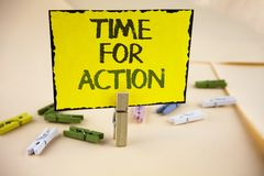 Writing note showing Time For Action. Business photo showcasing Do something now for a particular purpose Act in this moment writ. Ten Yellow Sticky Note Paper royalty free stock photography