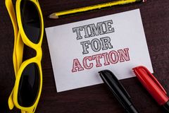 Writing note showing  Time For Action. Business photo showcasing Do something now for a particular purpose Act in this moment writ. Ten Sticky Note Paper wooden Stock Images