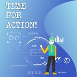 Writing note showing Time For Action. Business photo showcasing Urgency Move Encouragement Challenge Work. Writing note showing Time For Action. Business royalty free illustration