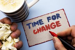 Writing note showing  Time For Change. Business photo showcasing Changing Moment Evolution New Beginnings Chance to Grow written b. Y Man Cardboard Piece Holding Royalty Free Stock Image