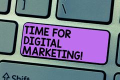 Writing note showing Time For Digital Marketing. Business photo showcasing Social media advertising promotion strategies. Keyboard Intention to create computer stock photos