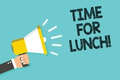 Writing note showing Time For Lunch. Business photo showcasing Moment to have a meal Break from work Relax eat drink rest Man hold vector illustration