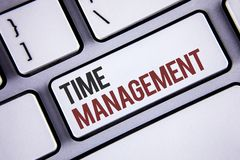 Writing note showing  Time Management. Business photo showcasing Schedule Planned for Job Efficiency Meeting Deadlines Keyboard gr. Ay keys black letters words Stock Photo