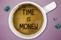 Writing note showing Time Is Money. Business photo showcasing Better to do things as quickly as possible Do not delay.  stock photos