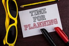 Writing note showing  Time For Planning. Business photo showcasing Start of a project Making decisions Organizing schedule written. Sticky Note Paper wooden Royalty Free Stock Images