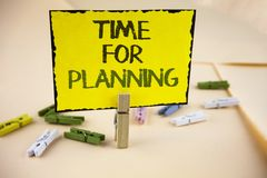Writing note showing  Time For Planning. Business photo showcasing Start of a project Making decisions Organizing schedule written. Yellow Sticky Note Paper on Stock Images