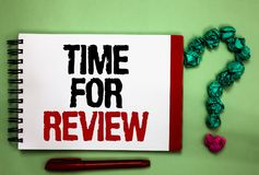 Writing note showing Time For Review. Business photo showcasing Evaluation Feedback Moment Performance Rate Assess Celadon color b. Ackground red sided notepad royalty free stock image