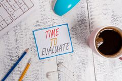 Free Writing Note Showing Time To Evaluate. Business Photo Showcasing Judge Something With Respect To Its Worth Or Royalty Free Stock Image - 158339546