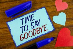 Writing note showing  Time To Say Goodbye. Business photo showcasing Separation Moment Leaving Breakup Farewell Wishes Ending writ. Ten Sticky note paper the Royalty Free Stock Photography