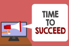 Writing note showing Time To Succeed. Business photo showcasing Thriumph opportunity Success Achievement Achieve your goals Man ho. Lding Megaphone loudspeaker stock illustration