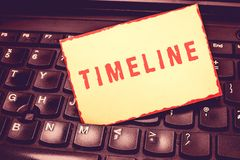 Writing note showing Timeline. Business photo showcasing graphical representation of period time on which events are. Marked Blank Bordered Notepad Reminding royalty free stock images