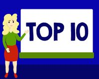 Writing note showing Top 10. Business photo showcasing List of most demanding Trending songs movies shows online in. Order royalty free illustration