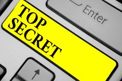Writing note showing Top Secret. Business photo showcasing telling someone important data or information that he cant tell Keyboar. D yellow key Intention stock images