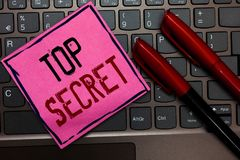 Writing note showing Top Secret. Business photo showcasing telling someone important data or information that he cant tell Pink pa. Per keyboard Inspiration royalty free stock photo