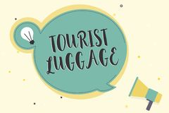 Writing note showing Tourist Luggage. Business photo showcasing big bag that contains everything one needs for traveling stock illustration